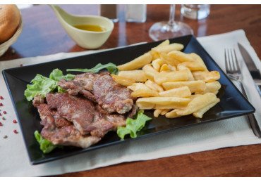 Pork Neck Steak With French Fries